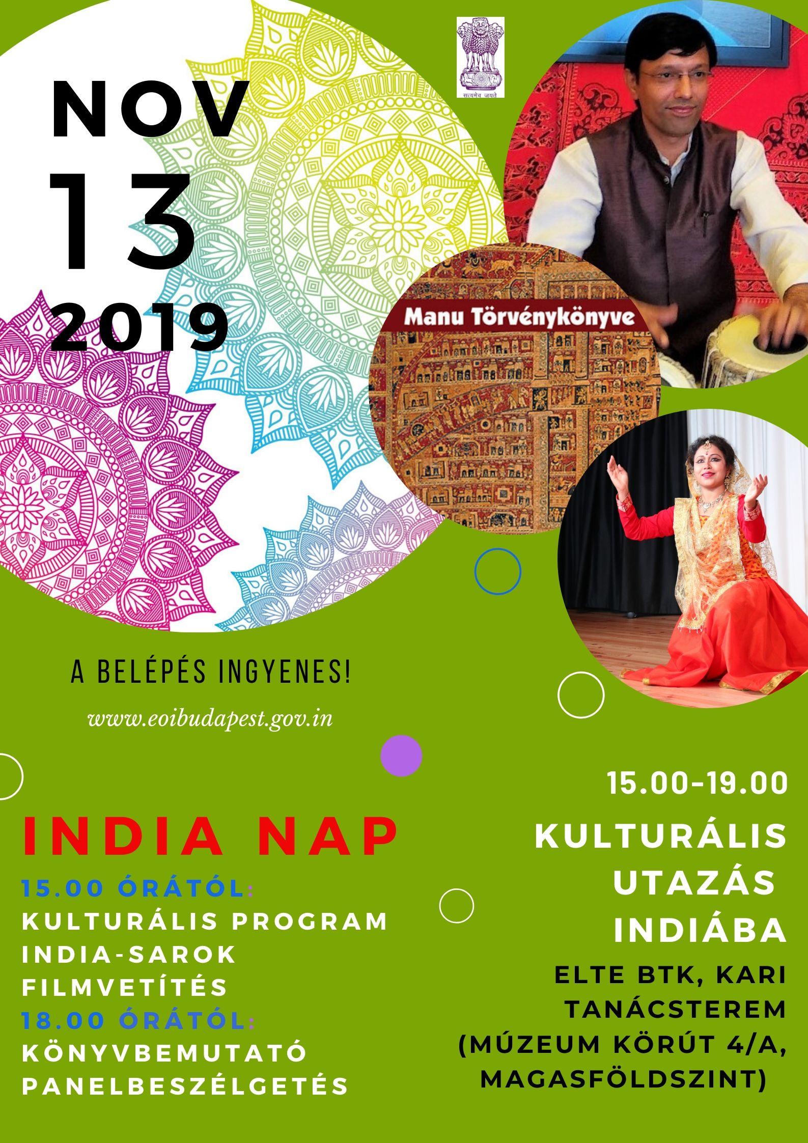 Előadások Indiáról A 2019. őszi félév novemberi programja