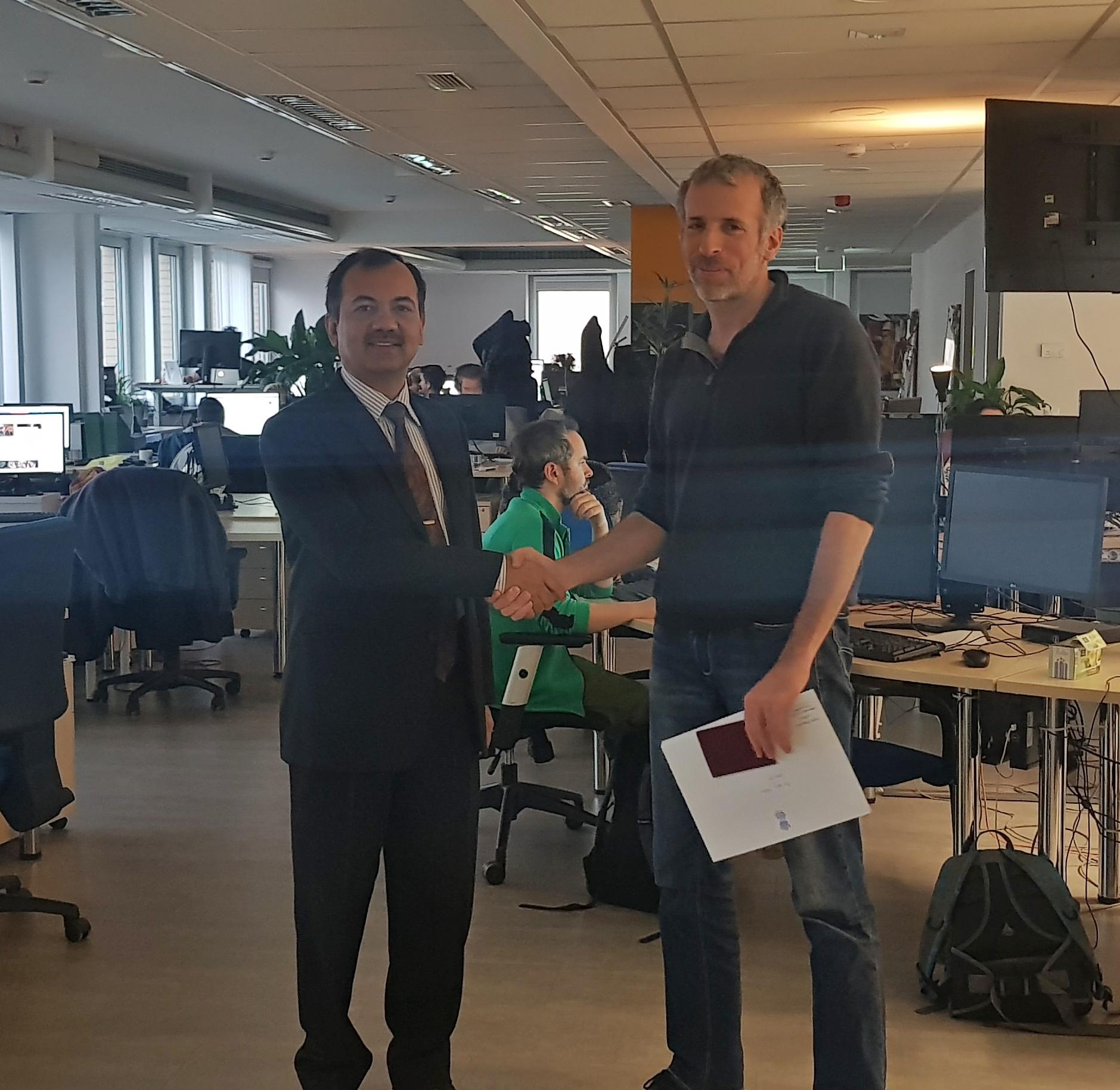 Ambassador felicitates Hungarian Journalist going to India