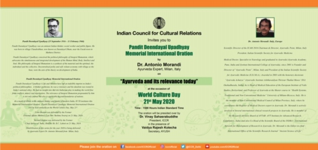 Celebration of World Culture Day on 21 May 2020 at 1500 Indian Time