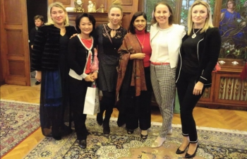 Mrs. Kavita Chhabra, wife of Ambassador Rahul Chhabra at the 2017 Christmas meeting held by Diplomatic Spouses in Budapest, Hungary.