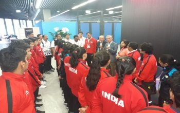 Ambassador Mr.Rahul Chhabra & Madame Kavita Chhabra along with the Indian boxing team from the Boxing Federation of India (BFI) which participated in the AIBA Youth women's and men's world championship 2018,Budapest ,Hungary