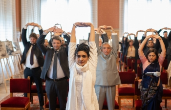 150th BIRTH ANNIVERSARY CELEBRATION OF MAHATMA GANDHIJI  SPEAKER KOVER INAUGURATES CELEBRATION IN HUNGARIAN PARLIAMENT