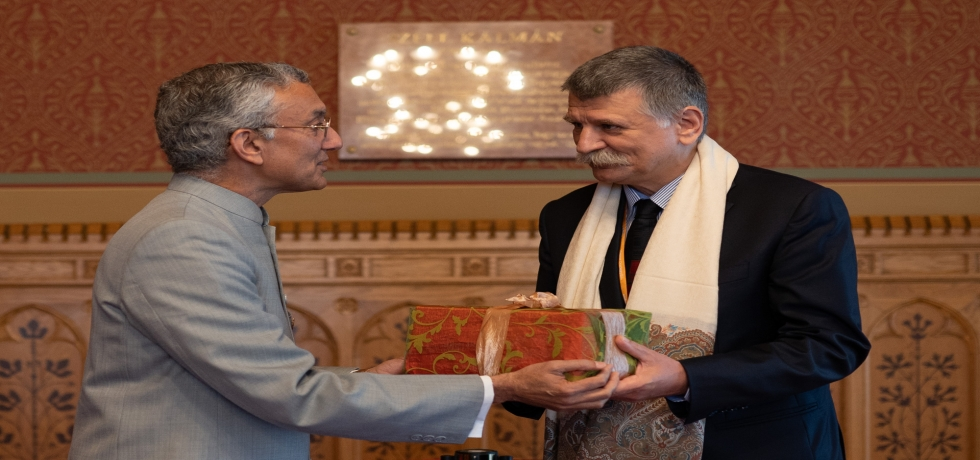 150th BIRTH ANNIVERSARY CELEBRATION OF MAHATMA GANDHIJI SPEAKER KOVER INAUGURATES CELEBRATION IN HUNGARIAN PARLIAMENT