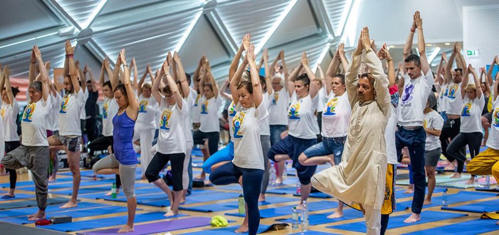 Spectacular 5th International Day Of Yoga at Balna Stadium, in Budapest on June 22.