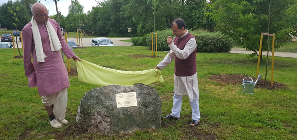 H.E Mr.Kumar Tuhin ,Ambassador of India unveiling the plaque on the occasion of 150th birth anniversary celebration of Mahatma Gandhi on the support by the Embassy of India in Hungary for planting of 150 trees to coincide with the World Environment Day.