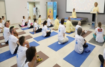 The 5th International Day of Yoga was held on 15th June'2019 at OKC Abrasevic, Mostar successfully. H.E.Mr.Kumar Tuhin, Ambassador of India addressed the participants. Ms.Sanela Demirovic, Expert Advisor for International Relations, City of Mostar was the Chief Guest.