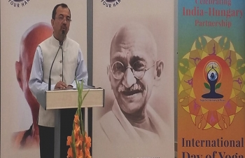 A Conference to commemorate 150th Birth Anniversary of Mahatma Gandhi was held at Széchenyi István University Gyor on 4th July, 2019. Speaking at the Conference Ambassador Kumar Tuhin said that Mahatma Gandhi's teachings are as relevant today as these were in his time. The Conference celebrated multiple anniversaries including 70th Anniversary of the establishment of Diplomatic Relations between India and Hungary. Dr. Ferenc Dancs, Dy. State Secretary, Ministry of Foreign Affairs and Trade said that India and Hungary are celebrating 70 years friendship based on mutual respect and trust. Ambassador Kumar Tuhin also thanked Szechenyi Istvan University, Gyor and Yoga in Daily Life, Hungary in promoting Yoga in Hungary and for their support in celebrating International Day of Yoga.