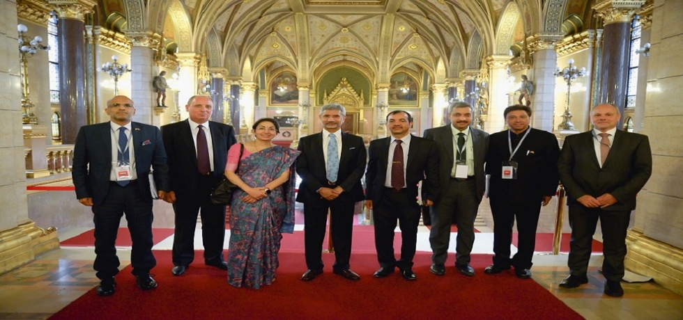 EAM Dr. S Jaishankar visits the Hungarian Parliament with the delegation accompanied by Ambassador of India in Hungary, Mr. Kumar Tuhin, Ambassador of Hungary in India, Mr. Gyula Pethő & DG, Ministry of Foreign Affairs & Trade, Mr. Norbert Révai-Bere and other officers.